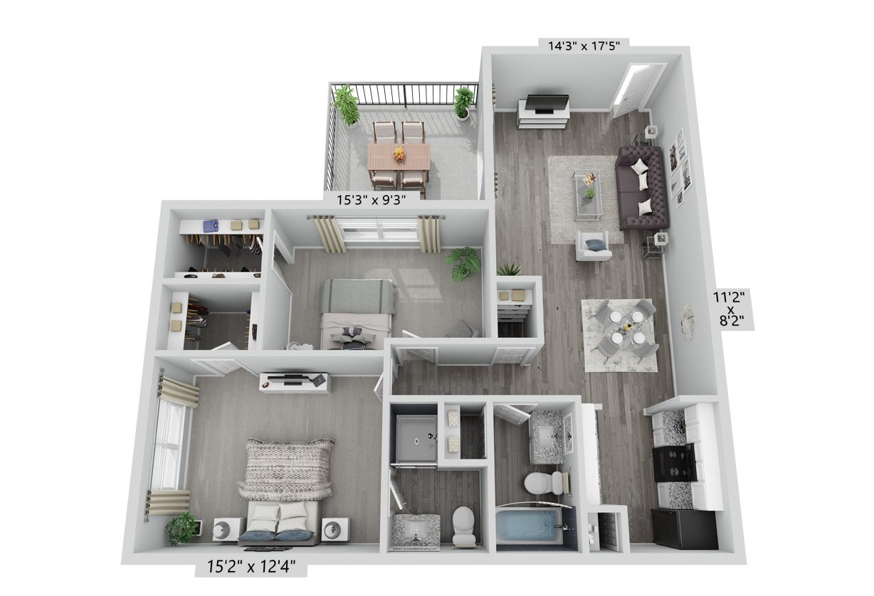 A B3 unit with 2 Bedrooms and 2 Bathrooms with area of 912 sq. ft