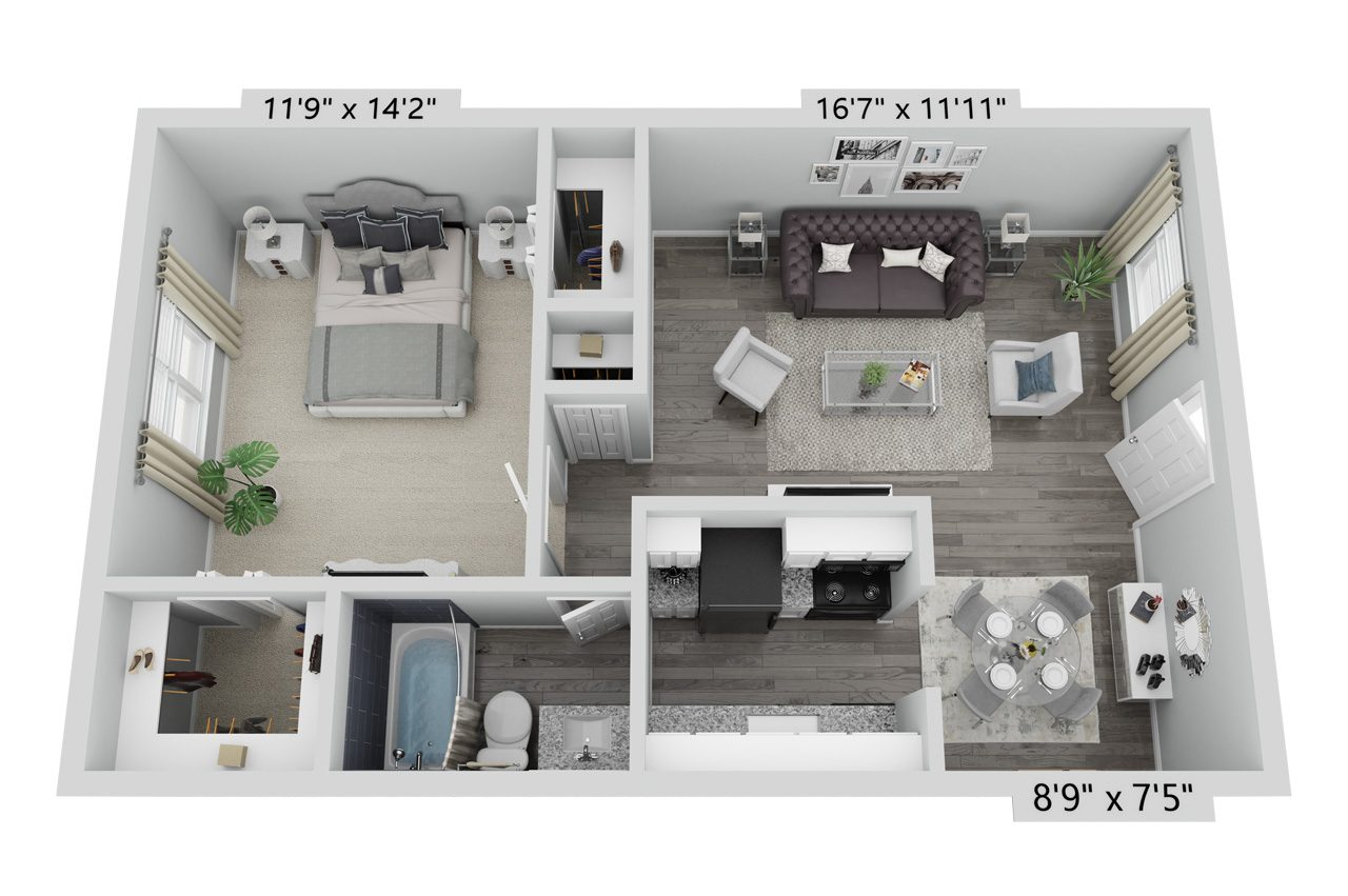 A Pecan unit with 1 Bedrooms and 1 Bathrooms with area of 664 sq. ft
