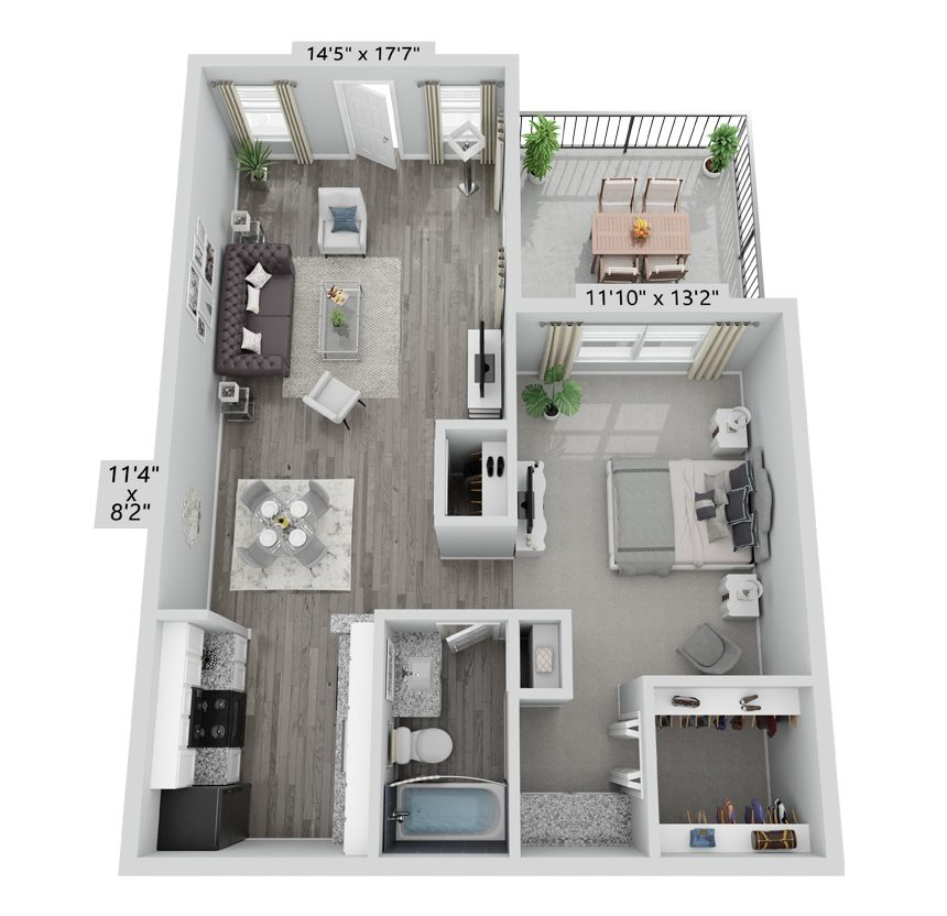 A Bluebonnet unit with 1 Bedrooms and 1 Bathrooms with area of 600 sq. ft