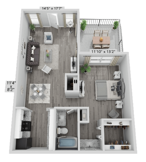 A A1 unit with 1 Bedrooms and 1 Bathrooms with area of 664 sq. ft