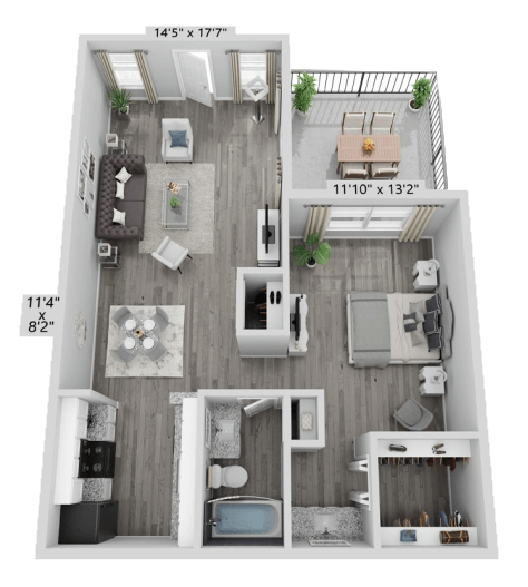 A A2 unit with 1 Bedrooms and 1 Bathrooms with area of 664 sq. ft