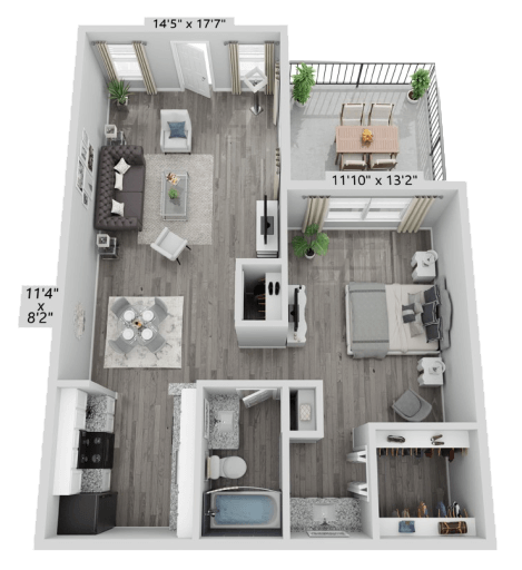 A A3 unit with 1 Bedrooms and 1 Bathrooms with area of 848 sq. ft