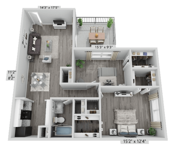 A B1 unit with 2 Bedrooms and 1 Bathrooms with area of 845 sq. ft