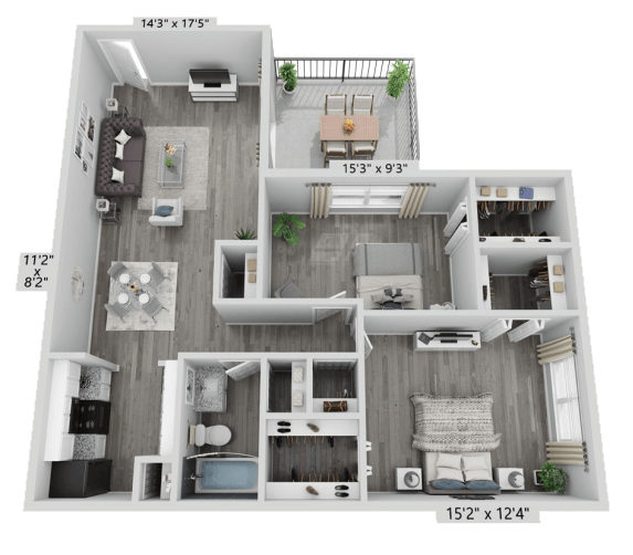 A B2 unit with 2 Bedrooms and 1 Bathrooms with area of 878 sq. ft