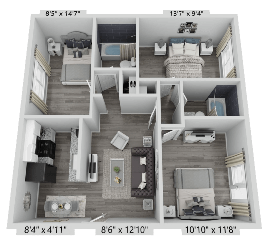 A C1 unit with 3 Bedrooms and 2 Bathrooms with area of 1120 sq. ft