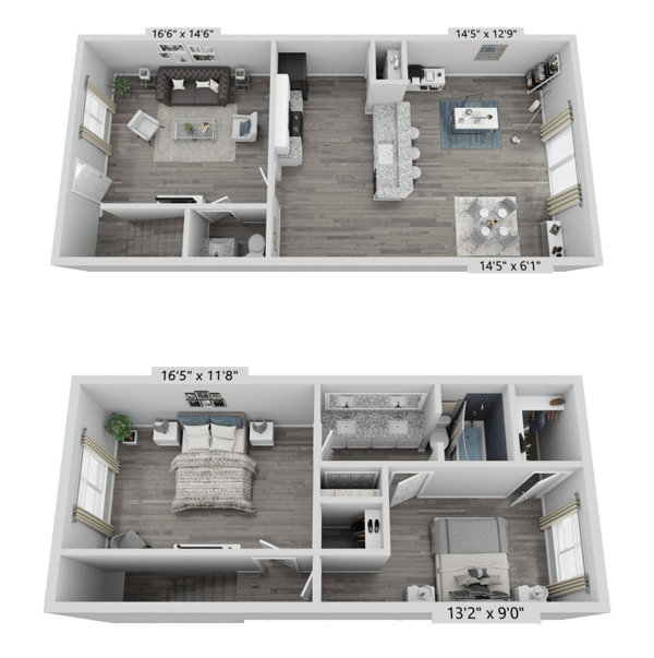 A B4 unit with 2 Bedrooms and 1.5 Bathrooms with area of 1088 sq. ft